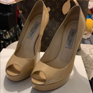 Jimmy choo nude patent leather stilletos